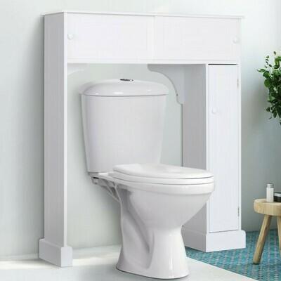 HOMCOM® Toilettenregal Toilettenschrank Überbauschrank Anti-Kipp Viel Stauraum MDF Weiss
