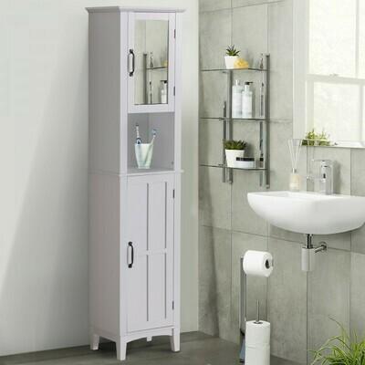 HOMCOM® Badschrank Badezimmerschrank Wandschrank mit Spiegel vestellbare Einlegeböden Holz Weiss