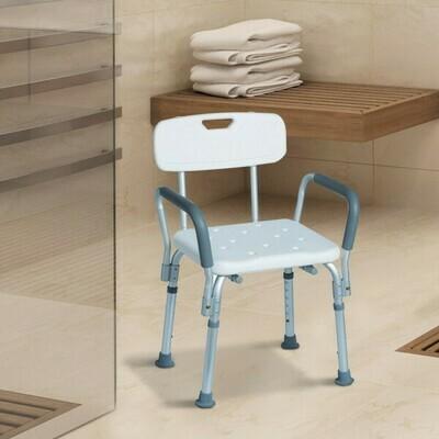kleankin® Badhocker Badestuhl Duschsitz Höheverstellbar Weiss