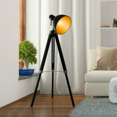 Homcom® Stehlampe Dreibein Stehleuchte höhenverstellbar 108-152cm E27 Industrial Schwarz