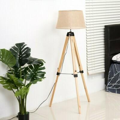 HOMCOM Stehlampe | Dreibein | Höhenverstellbare | 65 x 65 x 99–143 cm | Natur-Beige
