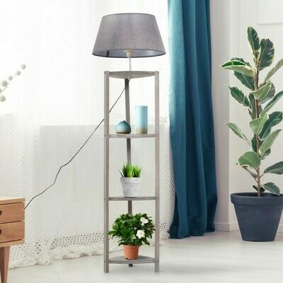 HOMCOM® Stehlampe Stehleuchte Lampenschirm 40W Skandinavisch Holz + Leinen grau 46 x 46 x 158,5 cm