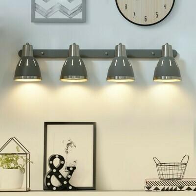 HOMCOM® Wandleuchte 4er-Set Wandstrahler schwenkbar Spot Wandlampe E27 40W Metall grau ∅13 x L16 cm (ohne Birne)