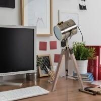 HOMCOM® Tischlampe Holz Tischleuchte Dreibein E14 Bronze