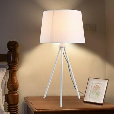 HOMCOM® Tischleuchte Tischlampe E27-Fassung Nachttischlampe 40 W Metall Weiss 30 x 30 x 60 cm