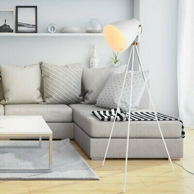 HOMCOM® Stehleuchte Stehlampe E27-Fassung neben Sofa 120° verstellbar Metall Weiss 60 x 60 x 145 cm