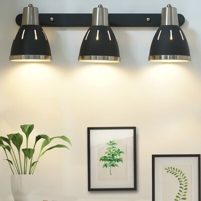 HOMCOM® Wandleuchte 3er-Set Wandstrahler drehbar Spot Wandlampe E27 40 W Metall schwarz ∅13 x L16 cm (ohne Birne)