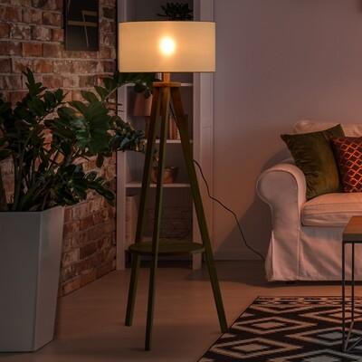 HOMCOM® Stehlampe Tripod Stehleuchte Standleuchte 40 W Holz + Leinen beige 50 x 50 x 154 cm