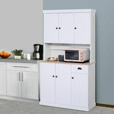 HOMCOM® Küchenschrank SIdeboard Kommode mit Arbeitsplatte Weiss MDF