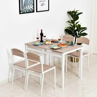 HOMCOM® 5-teilige Essgruppe Sitzgruppe Esstisch Set Holzmaserung MDF + Metall Grau + Weiss mit 1 Tisch + 4 Stühlen