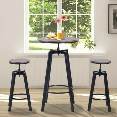HOMCOM® 3-teilige Essgruppe Sitzgruppe Esstisch Holztisch dunkle Naturholzoptik mit 1 Tisch + 2 Hockern