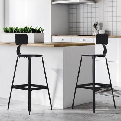 HOMCOM® 2er-Set Barhocker Bistrostuhl Küchenhocker mit Antirutschpads mit Rückenlehne Schwarz