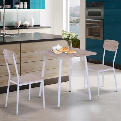HOMCOM® 3-teilige Essgruppe Sitzgruppe Esstisch Set Holztisch Naturholzmaserung mit 1 Tisch + 2 Stühlen
