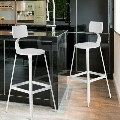 HOMCOM® 2er-Set Barhocker Bistrostuhl Küchenhocker Metallhocker mit Antirutschpads mit Rückenlehne Weiss