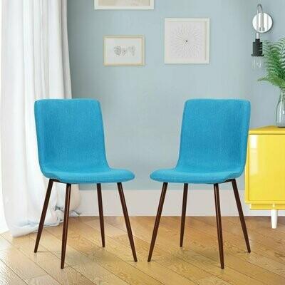 HOMCOM® 2er-Set Esszimmerstuhl Küchenstuhl Polsterstuhl Wohnzimmerstuhl Leinenbezug Metallfuss Blau