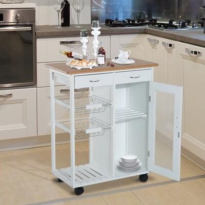 HOMCOM® Küchenwagen Servierwagen Küchenregal Beistellwagen Kiefer weiss