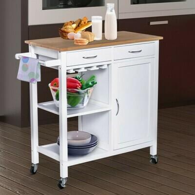 HOMCOM® Servierwagen Küchenwagen Rollwagen Rollbar mit 2 Schubladen Pflegeleicht Weiss