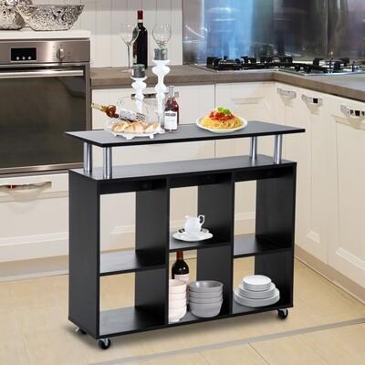 HOMCOM® Küchenwagen Servierwagen Rollwagen mit 6 Fächern Schwarz