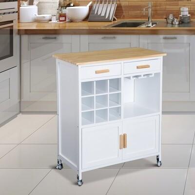 HOMCOM® Küchenwagen Servierwagen mit Flaschenablagen und Schublade Küchenwagen Küchenschrank