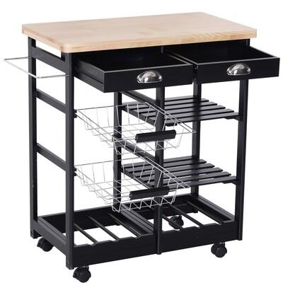 HOMCOM Küchenwagen Servierwagen mit Schubladen Weinablage rollbar aus Holz schwarz+natur