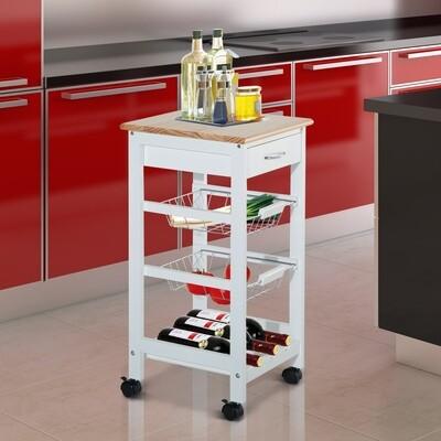 HOMCOM® Küchenwagen Rollwagen mit Metallkörben Weiss