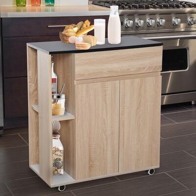 HOMCOM® Küchenwagen Servierwagen Rollwagen Rollbar aus Spanplatte Eiche