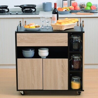 HOMCOM® Küchenwagen Rollwagen Servierwagen Rollbar aus Spanplatte Schwarz