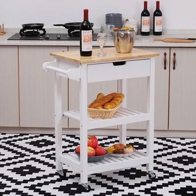 HOMCOM® Servierwagen Küchenwagen rollbar mit Schublade Holz weiss