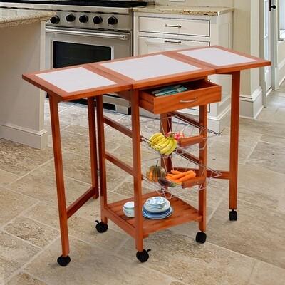 HOMCOM® Küchenwagen mit Schubladen und Rollen | Holz | Natur