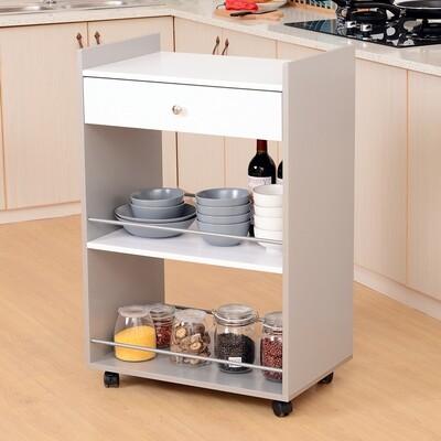 HOMCOM® Küchenwagen Servierwagen Küchenregal Grau-Weiss