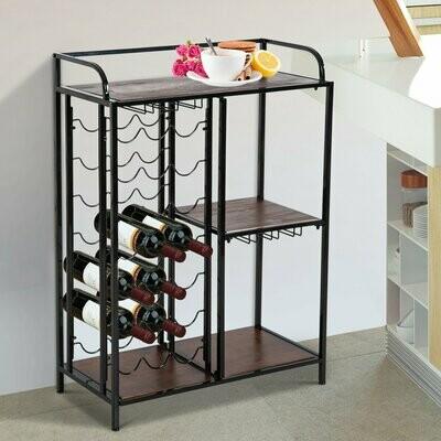 HOMCOM® Weinregal Weinschrank Weinständer 21 Flaschen 3 Staufächer