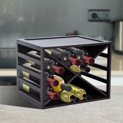 HOMCOM® Weinregal für 16 Flaschen stapelbar Kiefer Braun