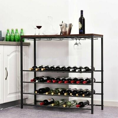 HOMCOM® Weinregal Flaschenregal Gläserhalter für 40 Flaschen & 24 Gläser Schwarz Metall