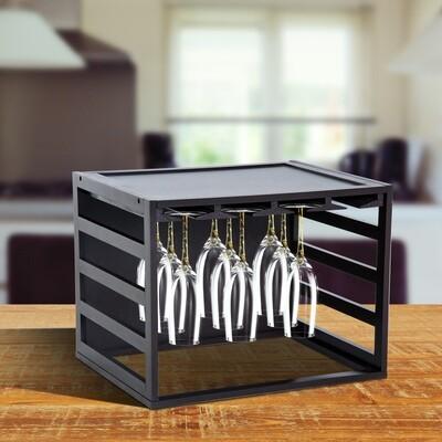 HOMCOM® Weinglashalter für 20 Weingläser Kiefer Braun
