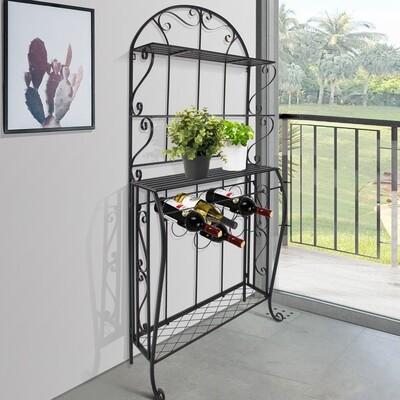 HOMCOM® Weinregal Weinhalter Flaschenregal Standregal für 9 Flaschen Metall Schwarz