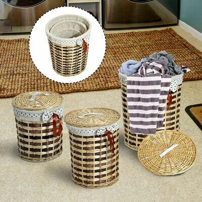 HOMCOM® 3er Set Wäschekorb Weidenkorbset mit Deckel