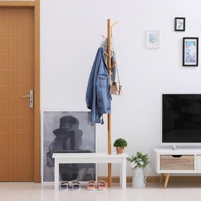 HOMCOM® Garderobenständer Kleiderhaken Garderobe mit Sitzbank Baum-Design Zweige 6 Haken