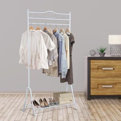 HOMCOM® Kleiderständer Kleiderstange mit Schuhablage Stahl Weiss