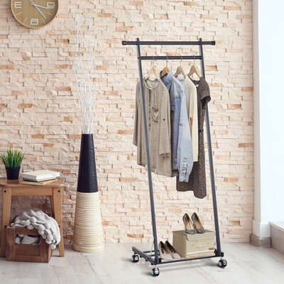HOMCOM® Kleiderständer Garderobenständer Garderobe mit 2 Kleiderstangen Schwarz