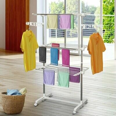HOMCOM® Mobiler Wäscheständer   3 Ebenen   Höhenverstellbar   (80-142) x 55 x 152 cm   Weiß, Silber