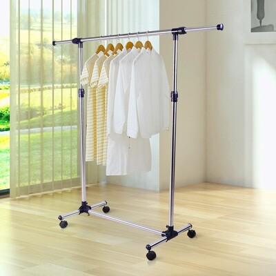 HOMCOM® Garderobenständer Edelstahl Kleiderständer rollbar Breite und Höhe verstellbar