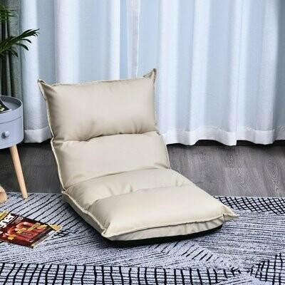 HOMCOM Sitzkissen mit verstellbarer Rückenlehne   Bodenstuhl   Sitzsack Creme
