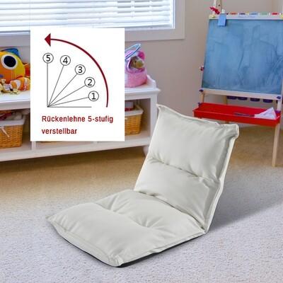 HOMCOM® Sitzsack Sitzkissen mit Lehne klappbar weiss