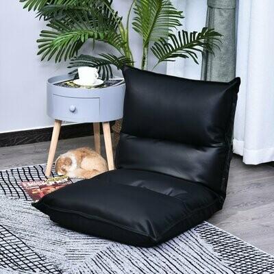 HOMCOM Sitzkissen mit verstellbarer Rückenlehne   Bodenstuhl   Sitzsack schwarz