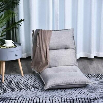 HOMCOM Sitzkissen mit verstellbarer Rückenlehne   Bodenstuhl   Sitzsack grau