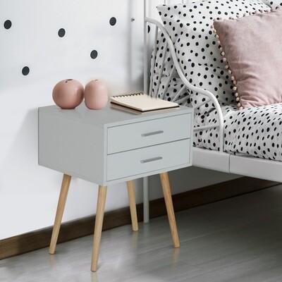HOMCOM® Nachttisch Nachtschrank Nachtkommode Konsole Beistelltisch 2 x Schublade Holz