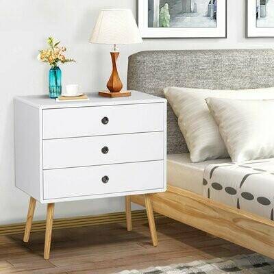 HOMCOM® Nachttisch Schrank Nachtschrank Nachtkommode Sideboard mit 3 Schubladen Holz Weiss