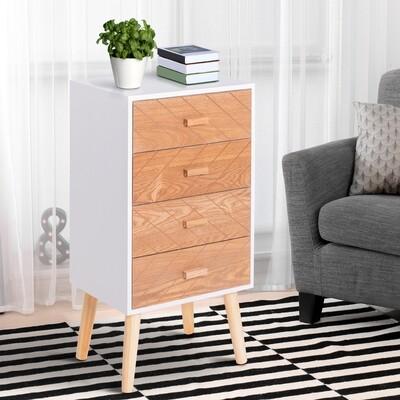 HOMCOM® Nachttisch Nachtkommode Flurkommode mit 4 Schubladen Holz weiss+natur