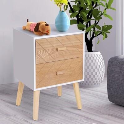 HOMCOM® Nachttisch Nachtkommode Flurkommode mit 2 Schubladen Holz weiss+natur