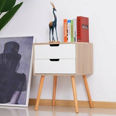 HOMCOM® Nachttisch Sideboard mit 2 Schubladen Holz Natur